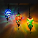 3 Lights Waterdrop Cluster Pendant Art Deco Blue/Green/Blue and Red Stained Glass Hanging Light Kit for Coffee House