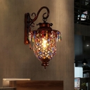 Lantern Sconce Decorative 1 Head Metal Wall Mounted Light Fixture in Copper, 8