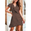 Classic Polka Dot Printed Ruffled Surplice Neck Short Sleeve Tie Back Mini A-Line Dress in Brown