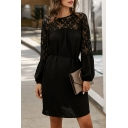 Women's Exclusive Hollow-Out Lace Patchwork Long Sleeves Fringe Tie Waist Solid Color Mini A-Line Dress