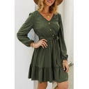Female Commuting Popular Solid Color Long Sleeves V-Neck Button-Up Tie Waist Ruffle Hem Mini A-Line Dress