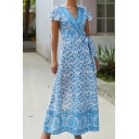 Vintage Ethnic Ladies' Short Sleeve Surplice Neck All Over Floral Pattern Maxi A-Line Wrap Dress