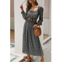Designer Ladies' Long Sleeve Square Neck Gather Waist Pleated Maxi Dress in Blue
