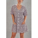 Pretty Ladies' Short Sleeve V-Neck Button Down Leopard Printed Short A-Line Dress with Pockets