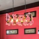 Pink/Brown 4 Lights Island Ceiling Light Retro Metal Rectangular LED Flower Drop Lamp for Restaurant