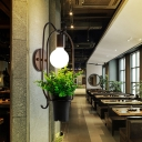 1 Light Potted Plant Sconce Lamp Industrial Black Metal LED Wall Light for Restaurant