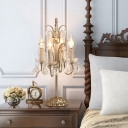 French Table Lamp 4 Light Crystal Chandelier Table Lamp Girls Bedroom Lamp in Antique White/Champagne Silver