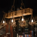 Metallic Rust Island Light Round/Scalloped 8 Lights Industrial Style Linear Pendant for Dining Room