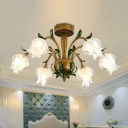 Brass 6 Heads Semi Flush Light Vintage White/Yellow Glass Floral LED Ceiling Fixture for Bedroom