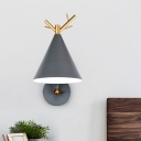 1 Bulb Bedside Sconce Modern Grey Wall Mounted Lighting with Conical Metal Shade