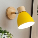 Yellow Bowl Sconce Light Modernist 1 Head Metal Wall Mount Lamp with Circle Wood Backplate