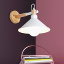 Conical Wall Lamp Contemporary Metal 1 Head White Sconce Light Fixture with Wood Arm