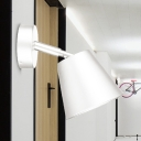 1 Bulb Bathroom Vanity Light Modern White/Gold Wall Mounted Lighting with Conical Metal Shade