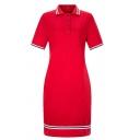 Formal Women's Short Sleeve Lapel Neck Button Front Stripe Trim Midi Sheath Polo Dress