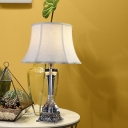 Paneled Bell Fabric Night Lamp Traditional Single Bulb Bedroom Table Light in Cream Gray