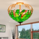 3 Lights Bedroom Semi Flush Light Tiffany Green Ceiling Fixture with Domed Cut Glass Shade