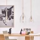 Jar Hanging Light Minimalist Clear Glass 1 Head Rose Gold Ceiling Suspension Lamp, 6