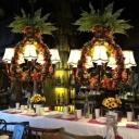 Vintage Bell Chandelier Light Fixture 5 Heads Fabric LED Flower Pendant Lamp in Black for Restaurant