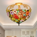 Flower Bush Ceiling Lighting Tiffany Stained Glass 3 Lights Green Semi Flush Mount Light Fixture