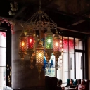 Industrial Cylinder Pendant Lighting 7 Bulbs Stained Glass Ceiling Chandelier in Brass