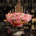Pink 12 Heads Chandelier Lamp Industrial Metal Candelabra Flower Hanging Light Fixture for Restaurant