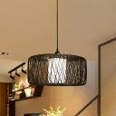 Bamboo Drum Hanging Lamp Chinese 1 Bulb Black/Beige Ceiling Pendant Light for Dining Room