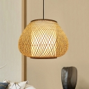 Hand Woven Ceiling Lamp Asian Bamboo 1 Bulb Beige Hanging Light Fixture for Living Room