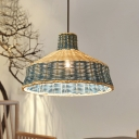 Blue Hat Ceiling Light South-East Asia 1 Bulb Bamboo Suspended Lighting Fixture for Tearoom