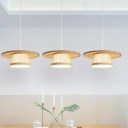 1 Bulb Dining Room Ceiling Lamp Asia Wood Hanging Light Fixture with Flared Bamboo Shade