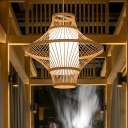 Curved Pendant Lamp Asian Bamboo 1 Head Wood Hanging Light Fixture with Tubular White Parchment Shade