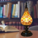 LED Night Table Light Traditional Ice Cream Shaped Stained Glass Nightstand Lamp in White/Red/Yellow
