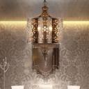 Brass 6 Lights Ceiling Chandelier Vintage Metal Curved Pendant Lighting for Corridor
