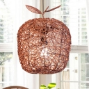 Chinese Hand-Worked Ceiling Lamp Rattan 1 Bulb Suspended Lighting Fixture in Brown
