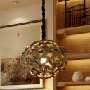 Spherical Ceiling Light Japanese Wood 1 Head Suspended Lighting Fixture in Brown