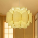 Japanese Tiered Pendant Lighting Wood 1 Bulb Hanging Ceiling Light in Beige for Restaurant