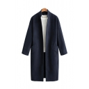 New Trendy Plain Stand Collar Long Sleeves Open Front Longline Wool Coat with Pocket
