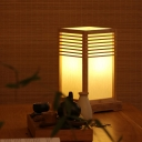 Wood Rectangular Task Lighting Asian 1 Bulb Small Desk Lamp in Beige with Switch