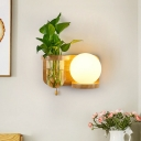 1 Light Wall Lighting Fixture Industrial Globe Opal Glass LED Wall Lamp Sconce in Wood without Plant, Left/Right