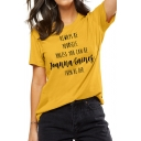 Simple Letter ALWAYS BE YOURSELF Printed Short Sleeves Crew Neck Leisure T-Shirt