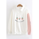 Lovely Strawberry Japanese Letter Print Color Block Long Sleeve Lapel Collar Fake Two Piece Panel Sweatshirt