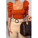 Ladies Graceful Solid Color Square Neck Puff Sleeve Fitted Outdoor Cropped Knitted Top