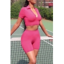 Active Lapel V-Neck Short Sleeves Fitted Crop Top with Skinny Shorts Rose Red Sport Co-ords