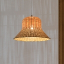 1 Head Wide Flare Pendant Lighting Chinese Bamboo Ceiling Suspension Lamp in Beige