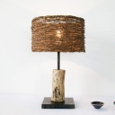 Cylindrical Task Lighting Japanese Rattan 1 Bulb Small Desk Lamp in Brown for Bedside