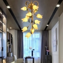 Retro Floral Chandelier Lighting Fixture 12 Heads Metal LED Pendant Ceiling Light in Brass for Dining Room