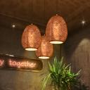 Egg Pendant Lighting Art Deco 1 Head Metal Ceiling Suspension Lamp in Rose Gold, 8