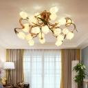 Metal Brass Ceiling Fixture Bloom 25 Bulbs Retro LED Semi Flush Mount Lighting for Living Room