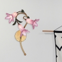 3 Bulbs Wall Light Sconce Traditional Living Room LED Wall Lighting Fixture with Lily White/Pink Glass Shade