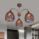 Metal Bronze Chandelier Lamp Dome 3 Lights Traditional Ceiling Pendant for Living Room