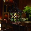 Traditional Lantern Night Lamp 1 Bulb Metal Nightstand Lighting in Black/Red/Green for Living Room